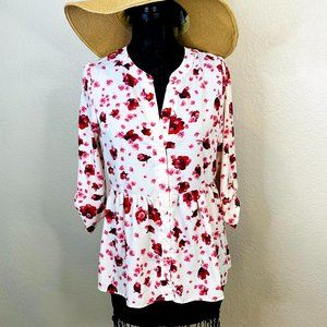 Poema Floral Blouse Top Size Large